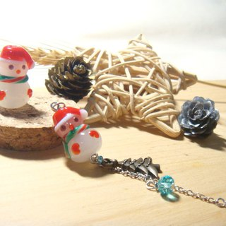 Grapefruit Forest Handmade Glass - Christmas Gifts - Snowman - Charm or Keyring
