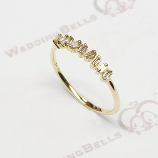 18K Yellow Gold Taper Cut Diamond Ring (free shipping)