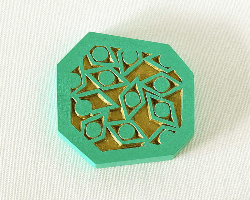 Geometric Hand Mirror Mini (sharp eyes - green)