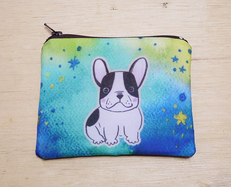 {Customizable} handwritten name hand-painted watercolor rendering style pattern Boston French bulldog Wallets purse card package