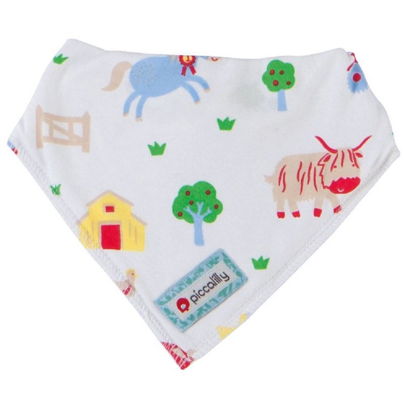 100%有機棉 動物牧場 三角口水巾 圍兜兜