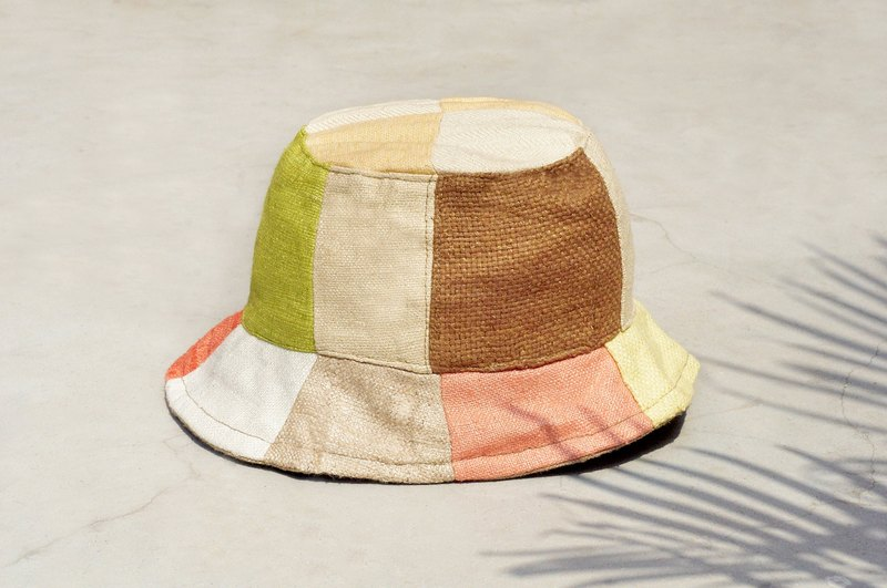 Valentine's Day gift limit a land forest wind splicing hand-woven cotton hat / fisherman hat / sun hat / patch cap / handmade cap - tropical South America fresh color splicing hand hat