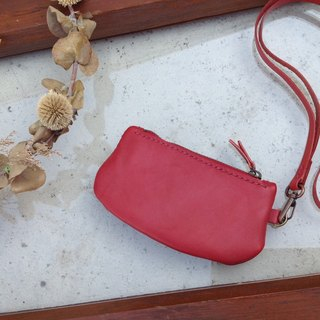 Zip coin purse, hanging, hand-stitched, leather reddish