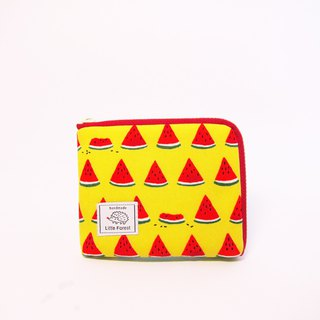 Ticket card coin purse <bite a watermelon / yellow>