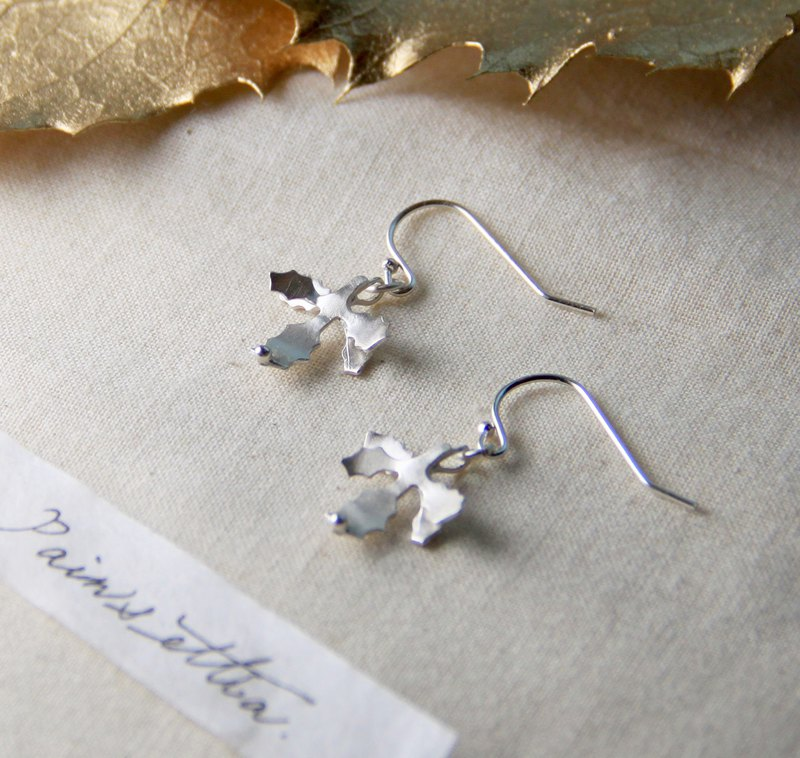 Four Seasons Series / Winter Winter - Christmas Leaf Earrings / Silver Gifts