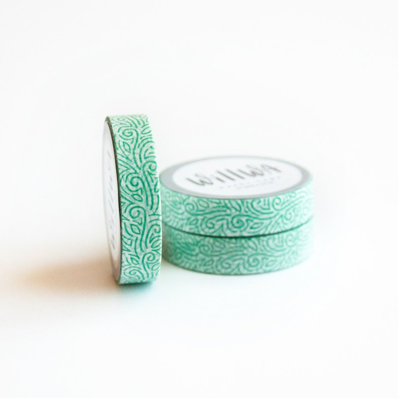 Green Rivendell 10mm x 10m washi tape - Watercolor Green Vine Ornament