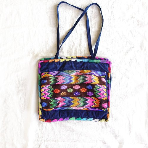 BajuTua / old things / guatemala hand embroidered totem square shoulder bag