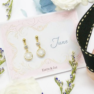 Edith & Jaz • Birthstone with CZ Collection-White Opal Quartz(Jun) Earrings