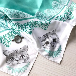 adc | party animal | blue green | cat | imitation scarf (small)