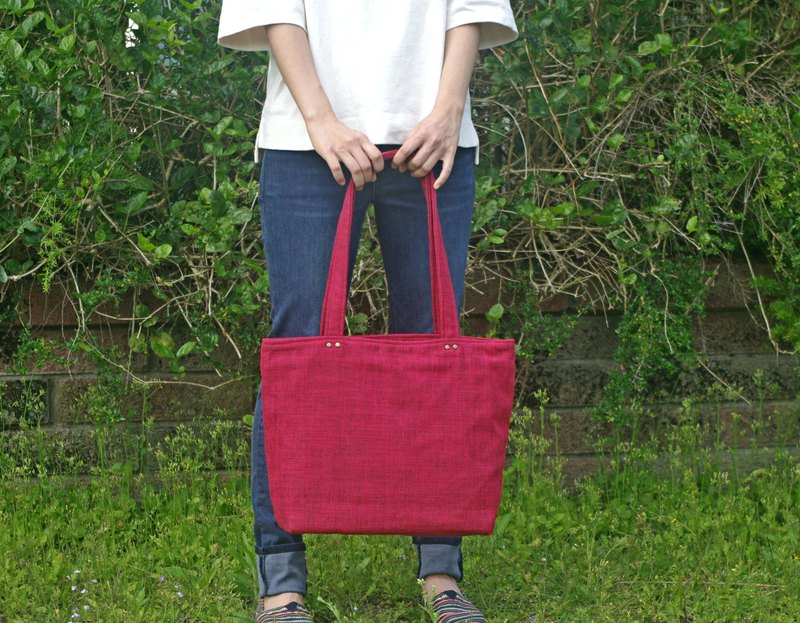 Absolute value---Classic tote bag linen dark red