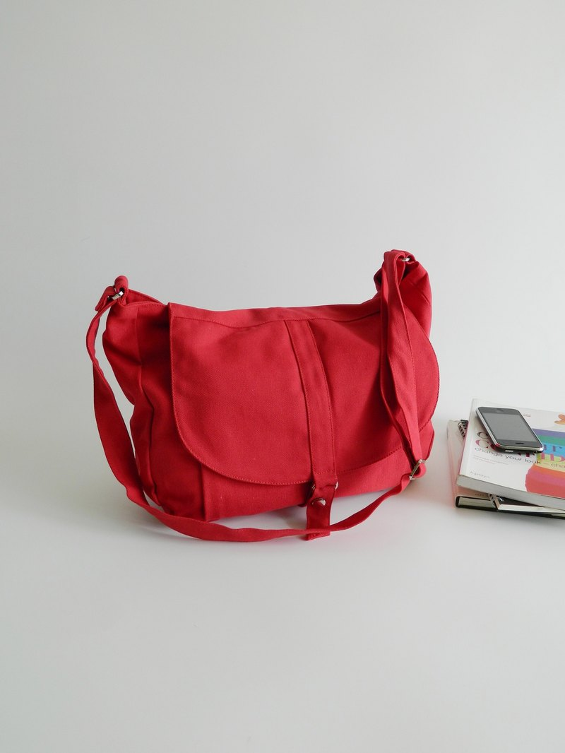 Red Messenger bag / cross body bag /canvas shoulder bag  - no.12 Kylie