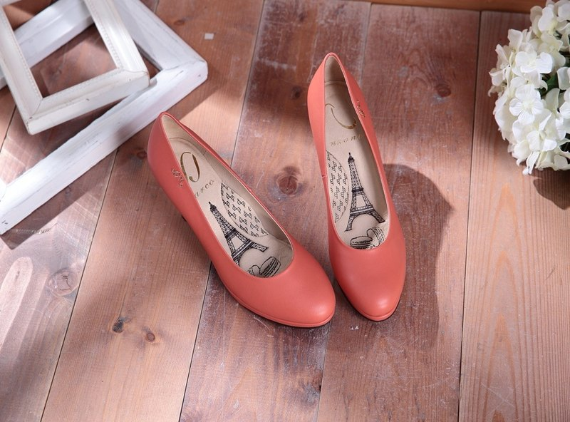 Dora-sweet orange-red plain round leather high heels (not sold out)