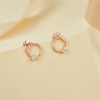 【PurpleMay Jewellery】18k Rose Gold Leaves Diamond Stud Earring E007