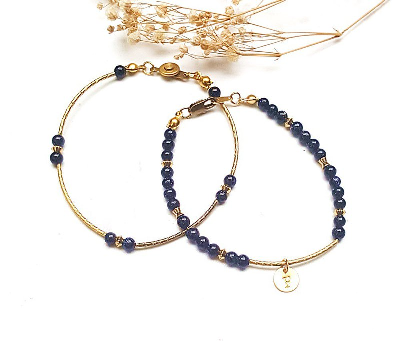 <御守水晶系列- Confidence defensive> Blue sandstone brass bracelet single set wish wish