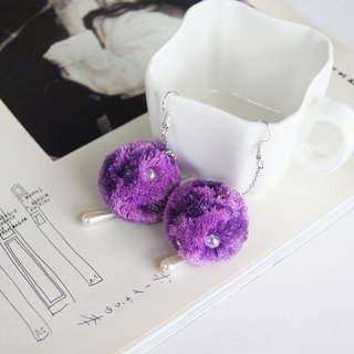 Mint neiff I hairball fine chain fishing drop pearl earrings Roland purple wear/clip type
