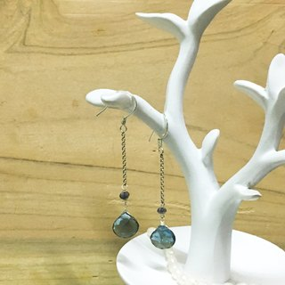 Tong Ling set a decorative ornament ~ 925 sterling silver {blue tears} natural Swiss blue topaz cut beads hand-made earrings