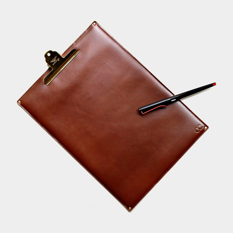 【Taishi history back cover】 leather board folder cowhide clip Danish folder writing version of the menu board custom lettering when the gift