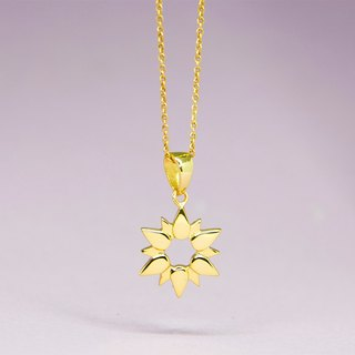Sun Necklace in Brass with 14k Yellow Gold Plating