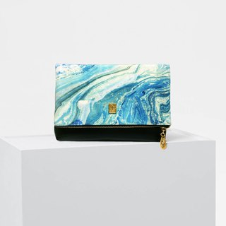 Blue abstract marble pattern casual clutch bag simple wild shoulder bag