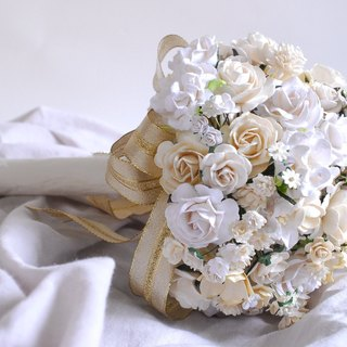 Paper Flower Bouquet for wedding party, Size  16x17 cm., white and of white, golden ribbons.