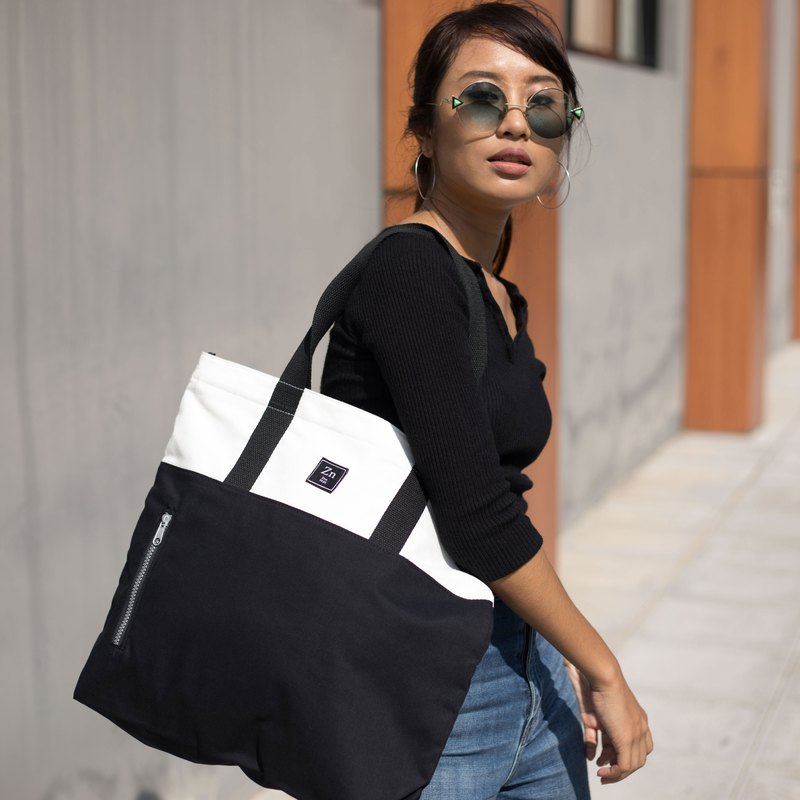 TOTE BAG / ZINC - TWO TONE TOTE / WHITE - BLACK (ZN170502)