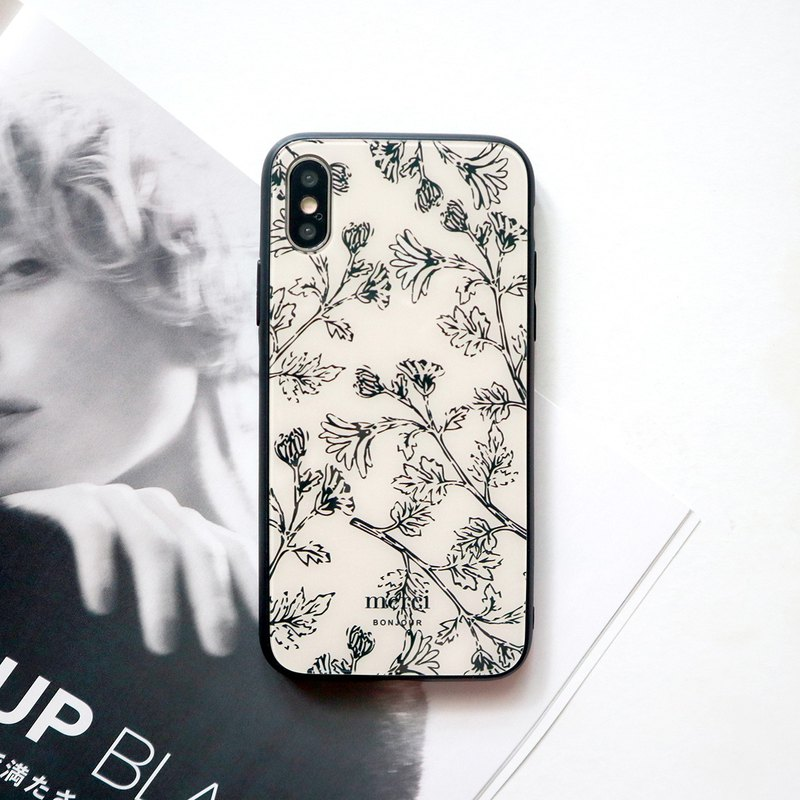 White flower glass phone case