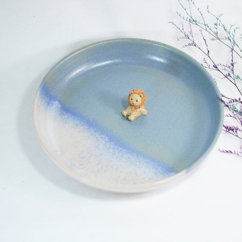 Gradual matte blue pottery plate, plate, dinner plate, fruit plate, snack plate - about Ø13.8, 17.8 cm