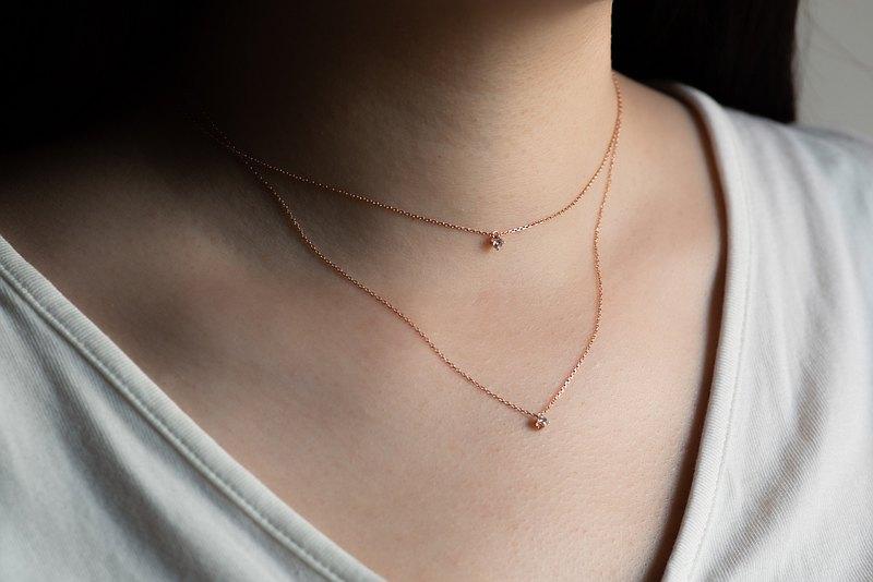 Double Diamond 雙層鑽石項鍊・純銀厚鍍18K金 情人節禮物首選