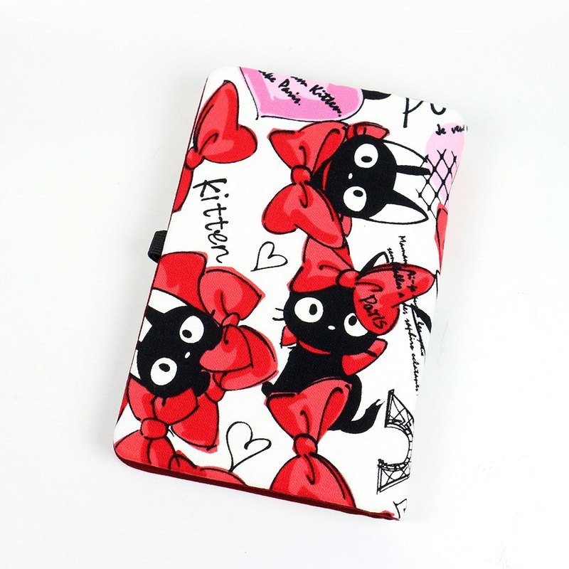 Passbook Card Storage Book - Bow Cat (Red)