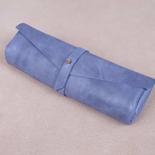 Handmade high grade Italian Leather pencil case (skyblue)