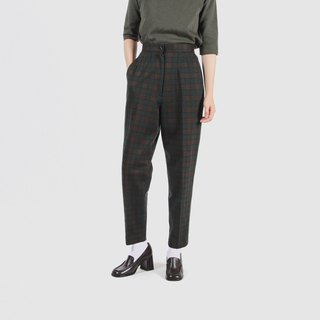 [Egg plant ancient] tree plaid woolen vintage old pants