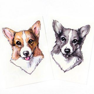 Corgi Small dog puppy Doggie Color Fake Watercolor Mini Temporary Tattoo Sticker