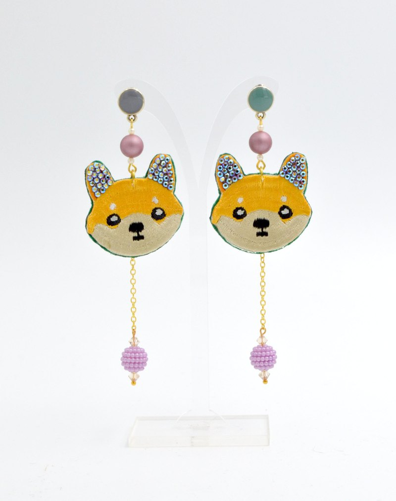 TIMBEE LO Puppy Crystal Embroidery Earrings Swarovski elements Swarovski Crystals