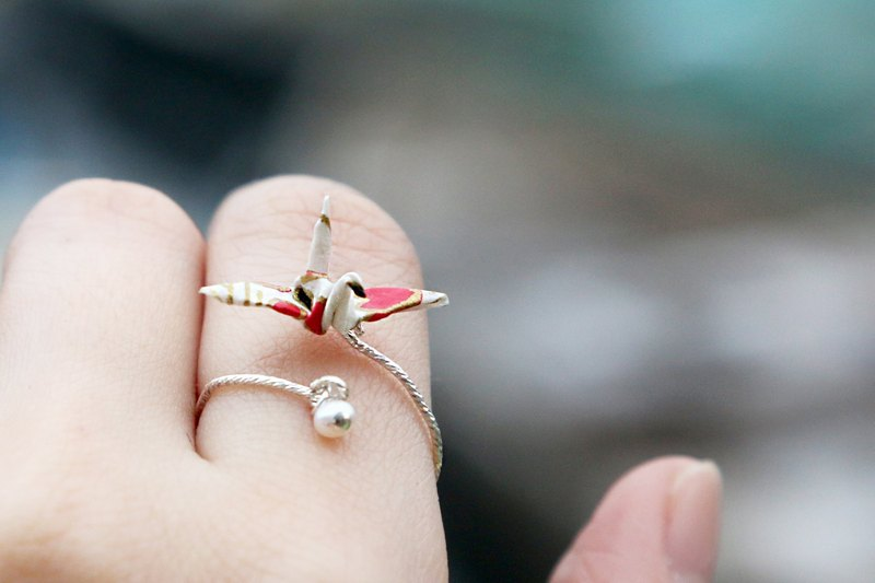 Mini cranes pearl rings (snow plum) - Valentine's Day gift