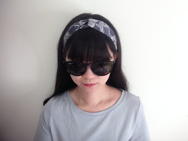 Dark blue lace headband