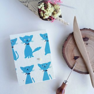 Small blue cat French Coptic line book manual book manual notebook blank manual book