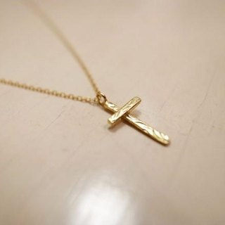 K18 karat gold handmade necklace / bar cross for Ladies