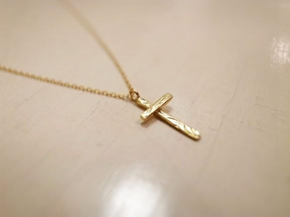 K18 gold gold handmade necklace bar cross for ladies
