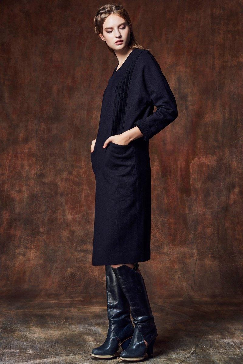 YUWEN 黑長大衣