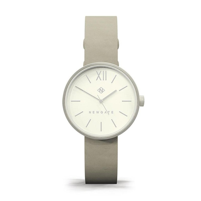 THE ATOM - LADIES SILVER LEATHER STRAP WATCH