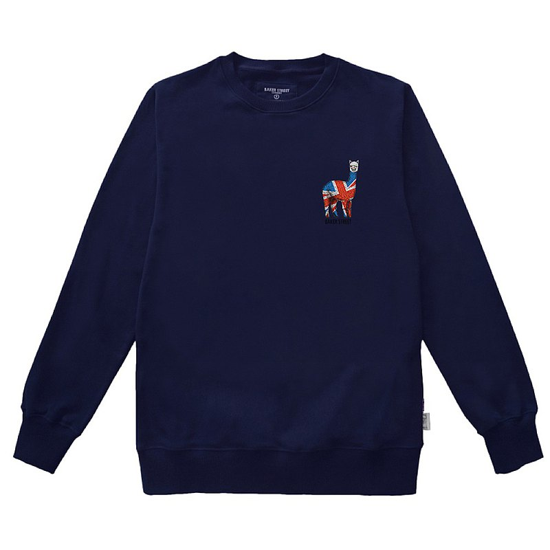 British Fashion Brand -Baker Street- British Alpaca Printed Sweatshirt