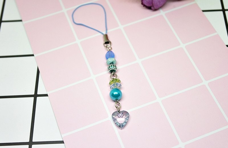 ├ cute little strap series ┤-blue heart - # small gift # # can be changed into earphone plug #