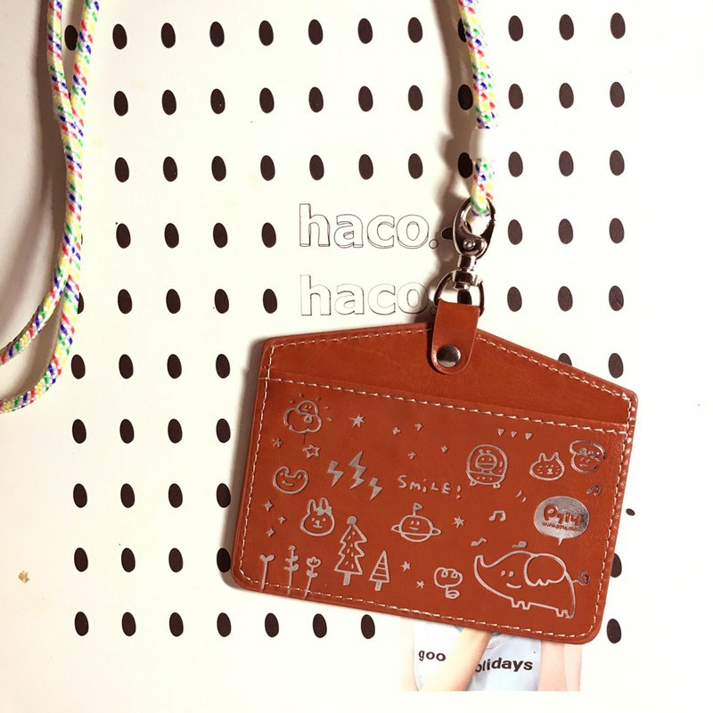 Smile ticket card holder _ classic brown (horizontal type)