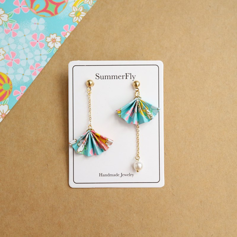 Origami folding fan blessing blue circus Asymmetry drop earring