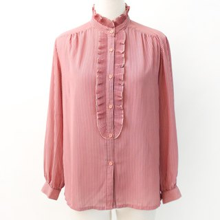 Vintage Japanese Blush Powder Striped Collar Thin Vintage Shirt Japanese Vintage Blouse