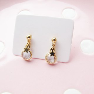 *Rosy Garden*Clear white crystal little stars earrings