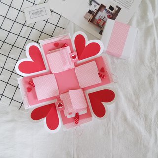 Sweet Home gift box card - first love pink x two-sided page pull-card version - handmade cards / Valentine's Day card / explosion card / explosion box
