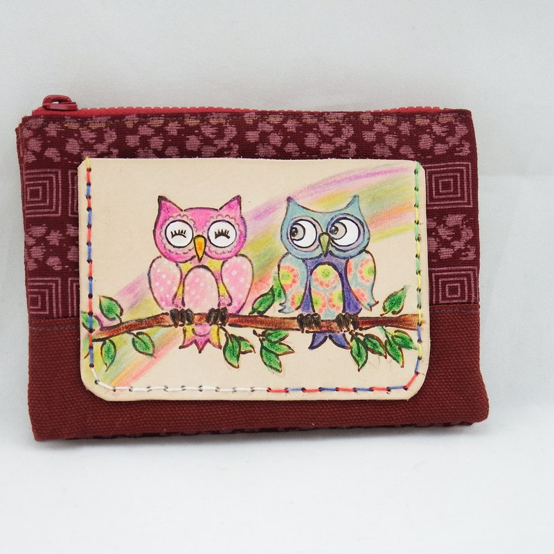 Vegetable tanned leather wine bag fabric multi-layer purse best partner owl