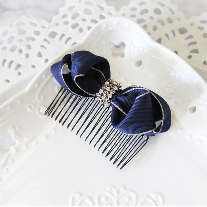 Royal blue gold-plated twisted comb