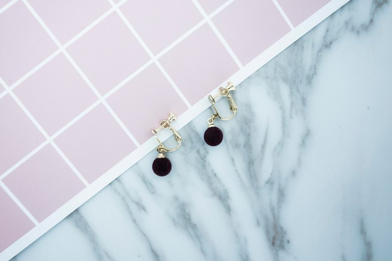 Circle dot Burgundy Earrings Ear Clip Earrings